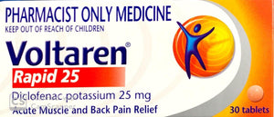 Voltaren Rapid 25 - Diclofenac Potassium 25mg 30 Tablets - Pharmacist Only Medicine