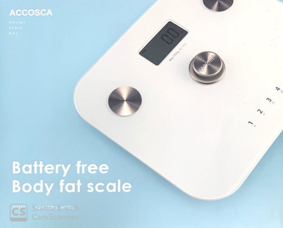 ACCOSCA Battery Free Body Fat Scale