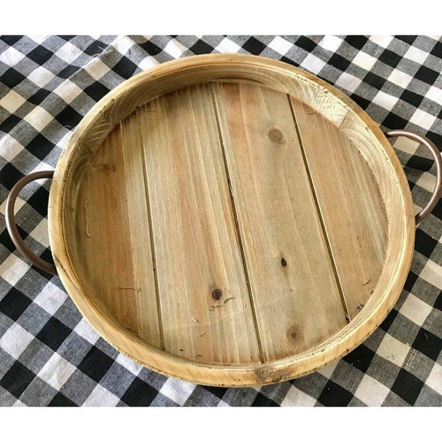 Round wood serving tray with handles
