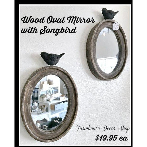 Wood Oval Mirror with Songbird
