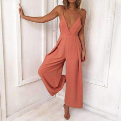 Casual Sleeveless V Neck Jumpsuit