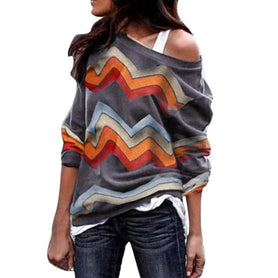 Long Sleeve Geometric Print Pullover