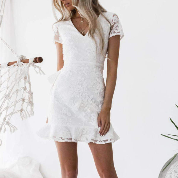 Ruffled Back Embroidered  Lace Mini Dress