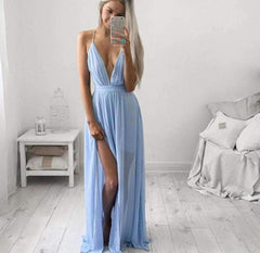 Sexy Backless Deep V-Neck Maxi Dress