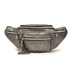 Silver Vegan Leather Fanny Pack With Tassel
