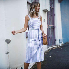 Stripes And Buttons  Dress