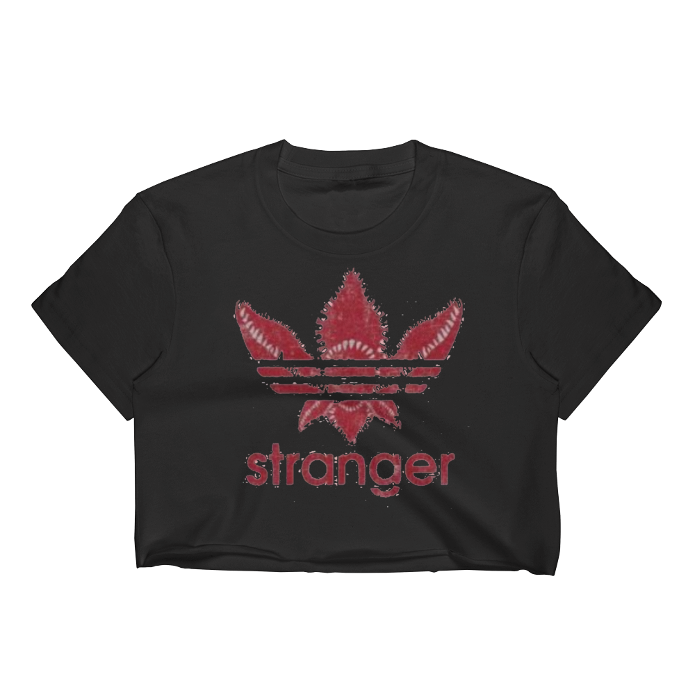 Stranger Adidas Women's Crop Top Stranger Things Tee T-Shirt by Fort Runwoodie at runwoodie.com