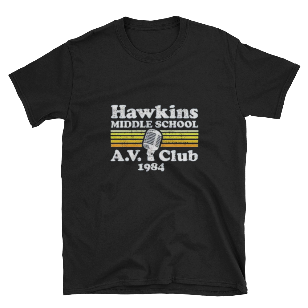 Stranger Things Hawkins AV Club T-Shirt by Runwoodie