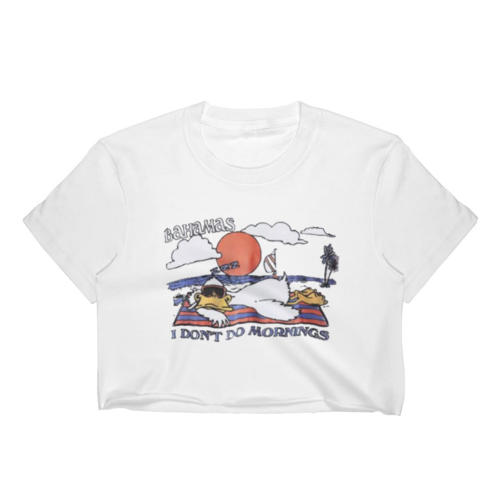 Bahamas I Don't Do Mornings Retro Vintage Duck Hangover T-Shirt Crop Top Tee by Runwoodie