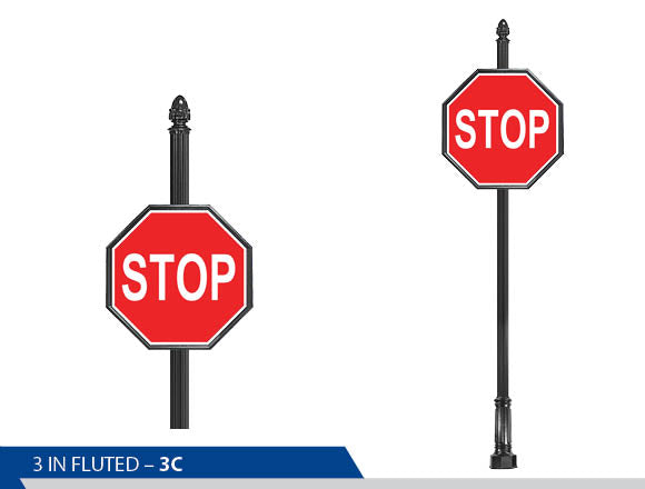 Stop Sign, 3 Inch Fluted Sign, Traffic Sign, Decorative Signage Systems, Street Signs, Decorative Signage, Personalized Signs, Street Sign On Fluted Pole, Custom Street Signs, Decorative Street Signs, Brandon Industries Sign, Best Quality Street Sign
