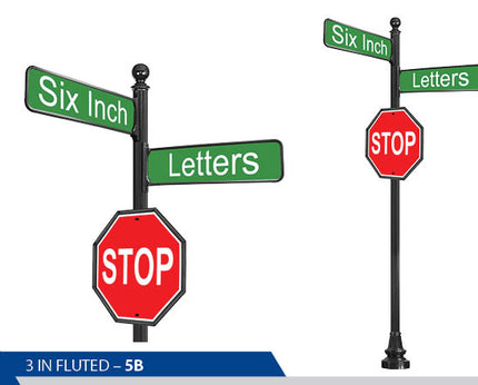 Stop Sign, 6 Inch Letters, Traffic Sign, Decorative Signage, Decorative Signage Systems, Street Signs, Personalized Signs, Street Sign On Fluted Pole, Custom Street Signs, Decorative Street Signs, Brandon Industries Sign, Best Quality Street Sign, Ball Finial