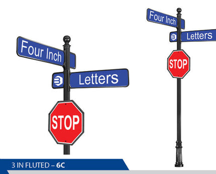 Stop Sign, 4 Inch Letters, Traffic Sign, Decorative Signage, Personalized Signs, Street Sign On Fluted Pole, Custom Street Signs, Decorative Street Signs, Brandon Industries Sign, Best Quality Street Sign, Ball Finial, Decorative Signage Systems, Street Signs,