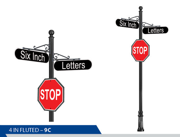 Stop Sign, 6 Inch Letters, Traffic Sign, Decorative Signage, Personalized Signs, Street Sign On Fluted Pole, Custom Street Signs, Decorative Street Signs, Brandon Industries Sign, Best Quality Street Sign, Decorative Bracket, High Intensity Grade Vinyl, Engineer Grade, Decorative Signage Systems, Street Signs,