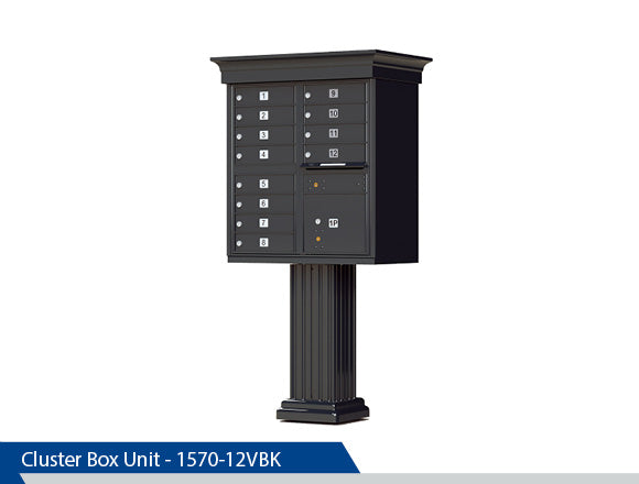Type 2 Classic Cluster Box Unit, Dress Up Kits, 12 Units, Black, Dark Bronze, Tan, White, Post Office Approved, Centralized Location
