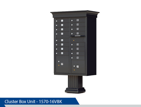 Type 3 Classic Cluster Box Unit, Dress Up Kits, 16 Units, Black, Dark Bronze, Tan, White, Post Office Approved, Centralized Location
