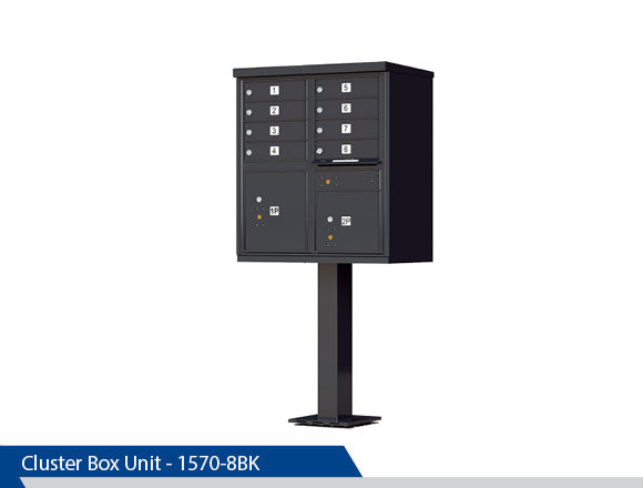 Classic Cluster Box Unit, Gang Box, Centralized Mail System, Commercial Mailbox, Decorative Gang Mailbox, Decorative CBU, Ornamental CBU, Postal Kiosk, Decorative Mailboxes, Pedestal Mounted Mailboxes, Dress Up Kits, 12 Units, Black, Dark Bronze, Tan, White, Post Office Approved, Centralized Location
