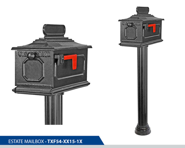 Decorative Mailbox, Decorative Mailboxes, Cast Aluminum, Address Plaque, Top Mount, Estate Mailbox, Cast Aluminium, Slip Over Base