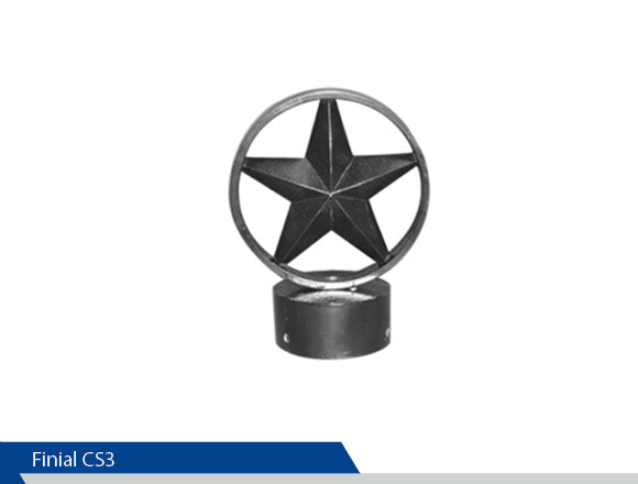 Circle Star Finial, CS3, 3 Inch Pole, Cast Aluminium, Decorative Finials, Decorative Mailbox Parts, Brandon Industries, Curb Side Mailboxes, Decorative Mailboxes, Cast Aluminum, Ornamental Mailboxes