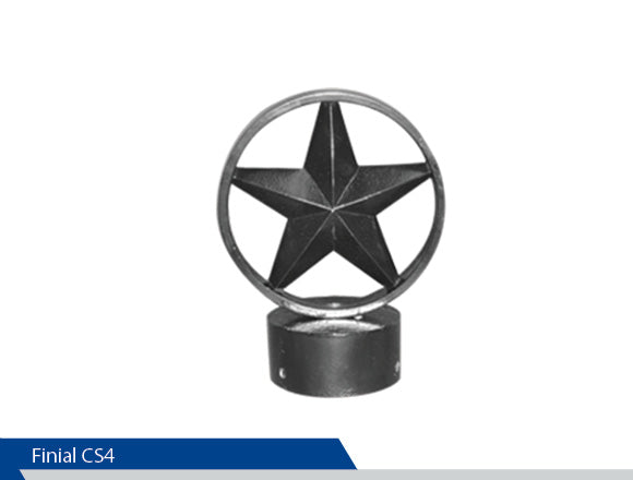 Circle Star Finial, CS4, 4 Inch Pole, Cast Aluminium, Decorative Finials, Decorative Mailbox Parts, Brandon Industries, Curb Side Mailboxes,  Decorative Mailboxes, Cast Aluminum, Ornamental Mailboxes