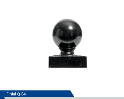 Ball Finial For Square Post, Q-B4, 4 Inch Pole, Cast Aluminium, Decorative Finials, Decorative Mailbox Parts, Brandon Industries, Curb Side Mailboxes,  Decorative Mailboxes, Cast Aluminum, Ornamental Mailboxes