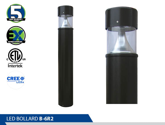 B-6R2,  Bollard, Energy Saving, High Efficiency CREE, led bollard, best led bollards ornamental bollard, Ultra Wide Light Distribution, wayfinding lights, led pathway light,