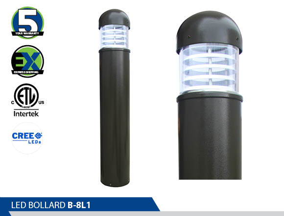B-8L1,  Bollard, Energy Saving, High Efficiency CREE, led bollard, best led bollards ornamental bollard, Ultra Wide Light Distribution, wayfinding lights, led pathway light,