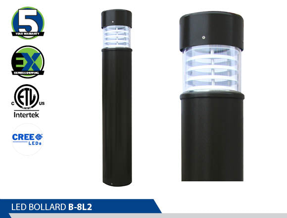 B-8L2,  Bollard, Energy Saving, High Efficiency CREE, led bollard, best led bollards ornamental bollard, Ultra Wide Light Distribution, wayfinding lights, led pathway light,