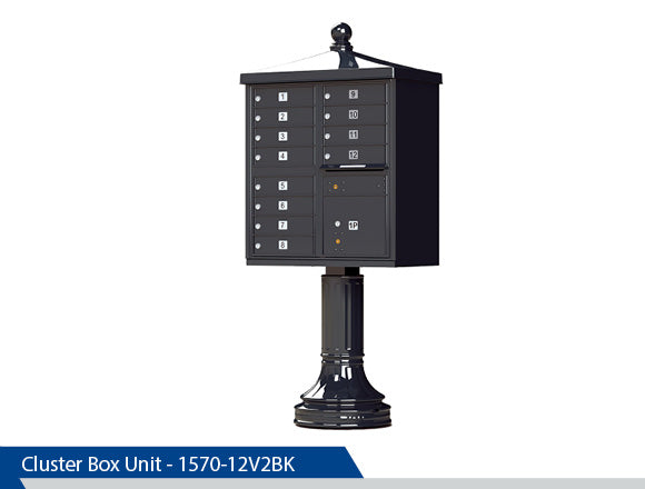 Type 2 Traditional Cluster Box Unit, 12 Tenants, Black, Dark Bronze, Tan, White, Post Office Approved