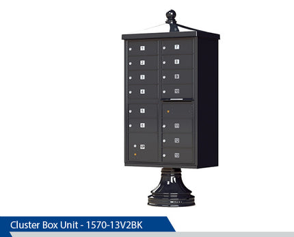 Type 4 Traditional Cluster Box Unit, 13 Tenants, Black, Dark Bronze, Tan, White, Post Office Approved
