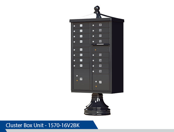 Type III Traditional Cluster Box Unit, 16 Tenants, Black, Dark Bronze, Tan, White, Post Office Approved