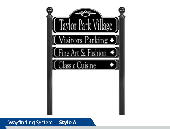 3 Inch OD Channel Post, Dual Post Wayfinding System, Prominent Logo, Decorative Signage Systems, Street Signs, Way finding sings, Cast aluminum, Round Finial, Breakaway System, High Intensity Vinyl,  Decorative Sign Pole, Decorative Signage Systems, Street Signs,