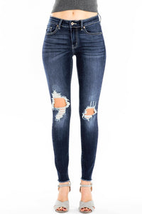 KanCan Dark Wash Busted Knee Jeans