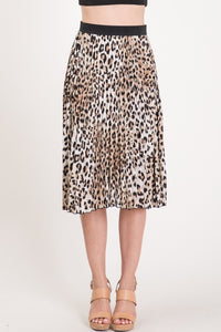 Pleated Leopard Midi Skirt