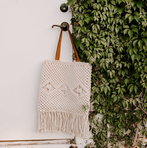 Macrame Bag with Leather Straps