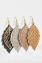 Faux Leather Leaf Earrings - 4 colors
