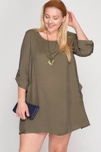 Plus Size Pocket Tunic in Black and Olive