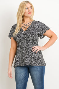 Plus Size Polka Dot Blouse (size 3XL)