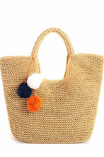 Hand Woven Bag with Removable Pom Pom