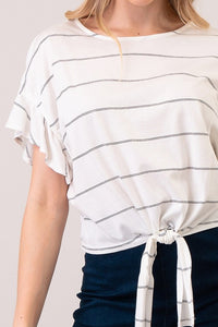 Striped Cropped Tee w/ Front Tie