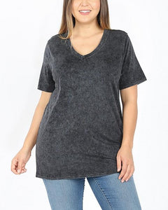 """Need This"" Plus Size Mineral Wash Tee"
