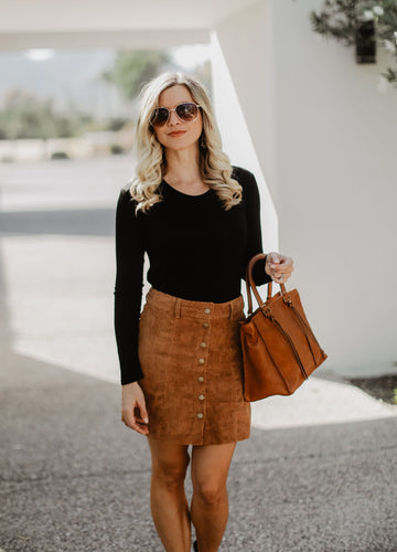 Tan Corduroy Button-Down Mini Skirt