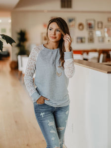 Lace-Sleeve Pullover - 2 colors