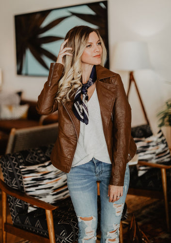 Tan Vegan Leather Moto Jacket