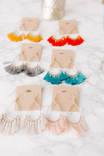 Tassel Hoop Earrings - 7 colors!