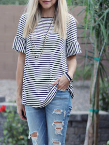 Striped Bell-Sleeve Top (size L & 3XL in stock)