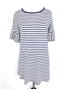 White with navy stripes