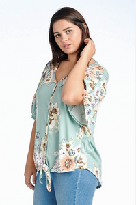 Plus Size Button-Front Floral Blouse