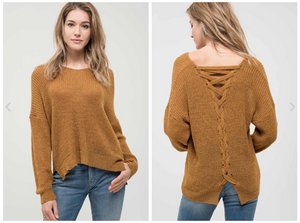 Maya Sweater with Lace-Up Back Detail