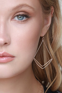 Lightweight Geometric Dangle Earrings - Gold or Rose Gold