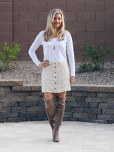 Faux Suede Button-Down Mini Skirt